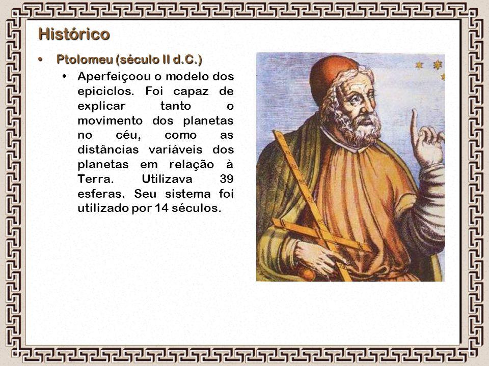 Histórico Ptolomeu (século II d.C.)Ptolomeu (século II d.C.) Aperfeiçoou o modelo dos epiciclos. Foi capaz de explicar tanto o movimento dos planetas