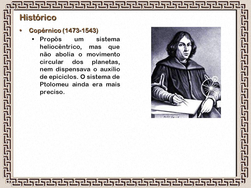 Histórico Copérnico (1473-1543)Copérnico (1473-1543) Propôs um sistema heliocêntrico, mas que não abolia o movimento circular dos planetas, nem dispen