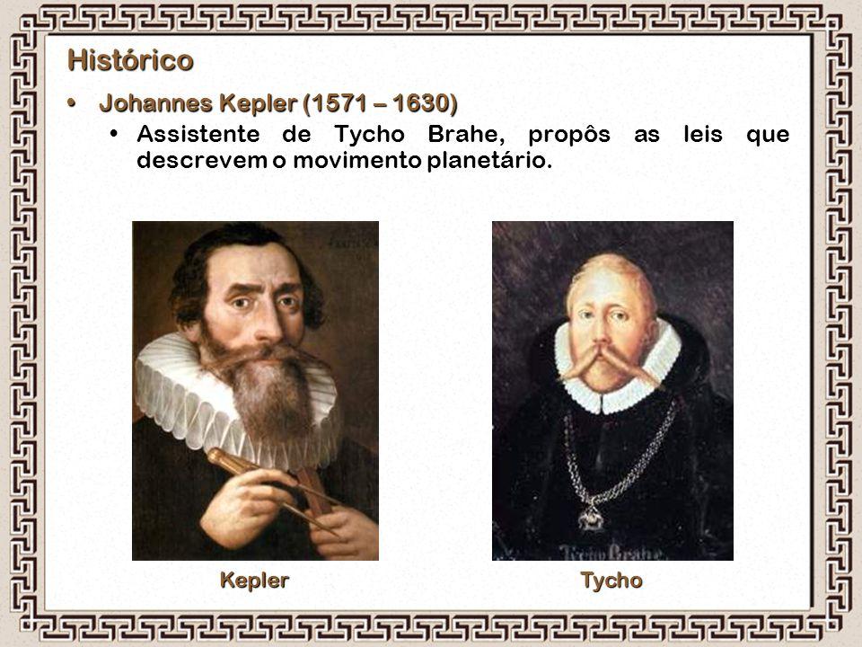 Histórico Johannes Kepler (1571 – 1630)Johannes Kepler (1571 – 1630) Assistente de Tycho Brahe, propôs as leis que descrevem o movimento planetário. K