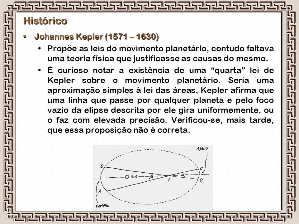Histórico Johannes Kepler (1571 – 1630)Johannes Kepler (1571 – 1630) Propõe as leis do movimento planetário, contudo faltava uma teoria física que jus