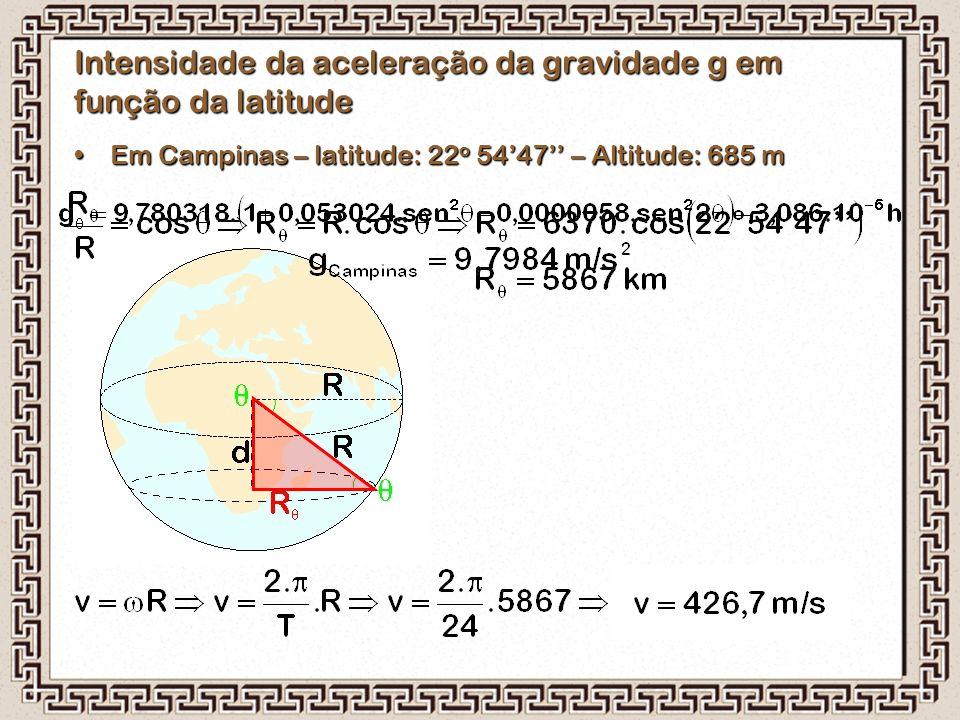 Em Campinas – latitude: 22 o 54'47'' – Altitude: 685 mEm Campinas – latitude: 22 o 54'47'' – Altitude: 685 m Intensidade da aceleração da gravidade g