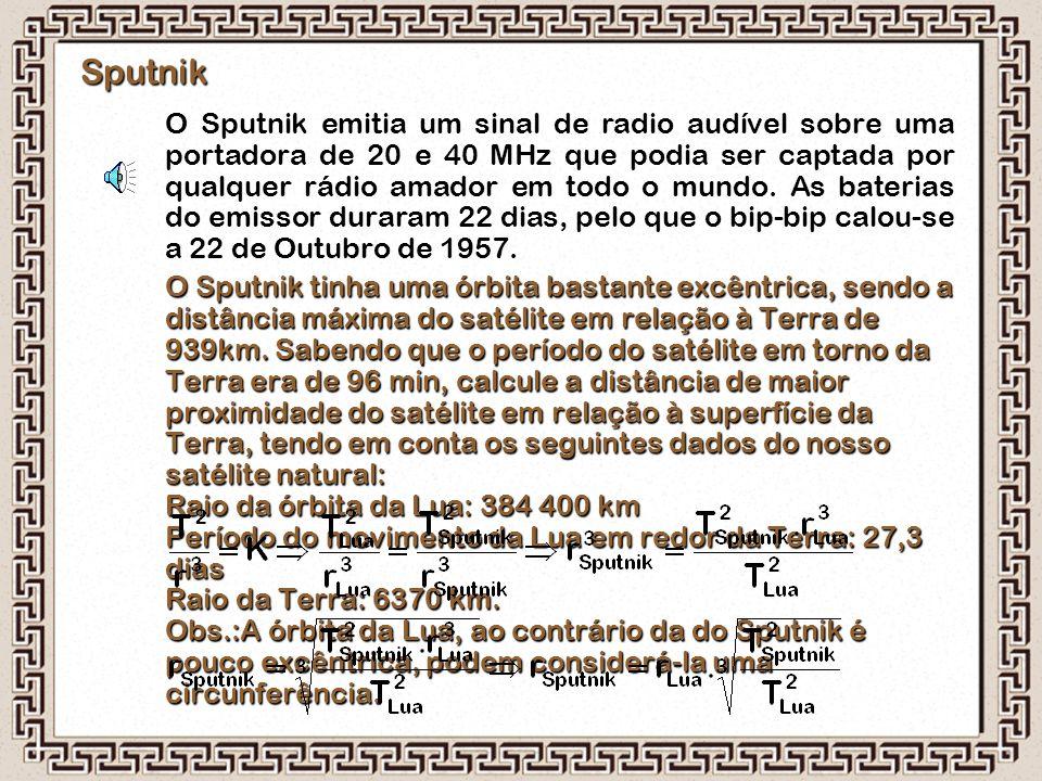 Sputnik O Sputnik emitia um sinal de radio audível sobre uma portadora de 20 e 40 MHz que podia ser captada por qualquer rádio amador em todo o mundo.