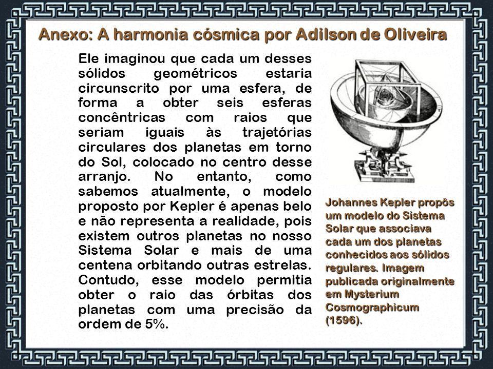 Anexo: A harmonia cósmica por Adilson de Oliveira Ele imaginou que cada um desses sólidos geométricos estaria circunscrito por uma esfera, de forma a