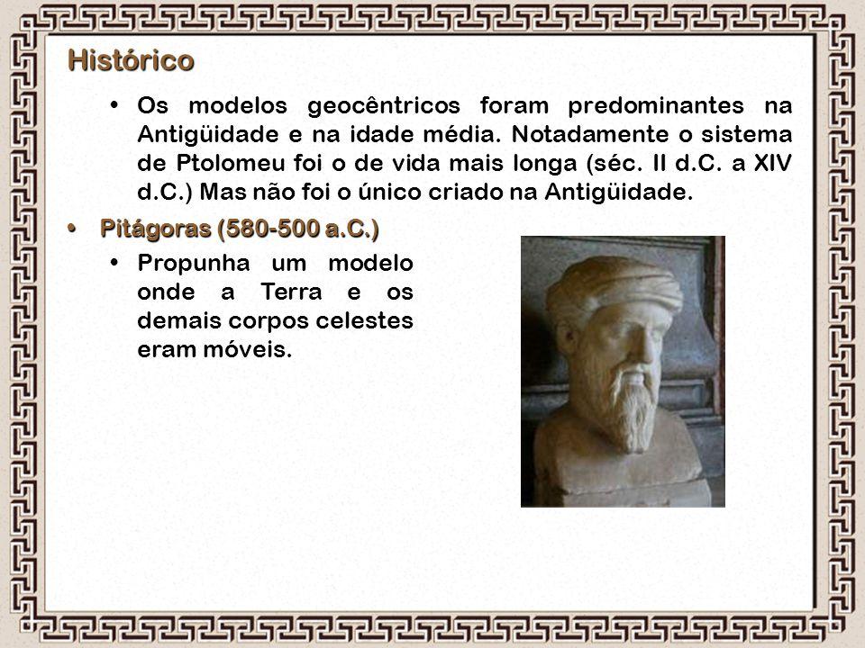 Histórico Os modelos geocêntricos foram predominantes na Antigüidade e na idade média. Notadamente o sistema de Ptolomeu foi o de vida mais longa (séc