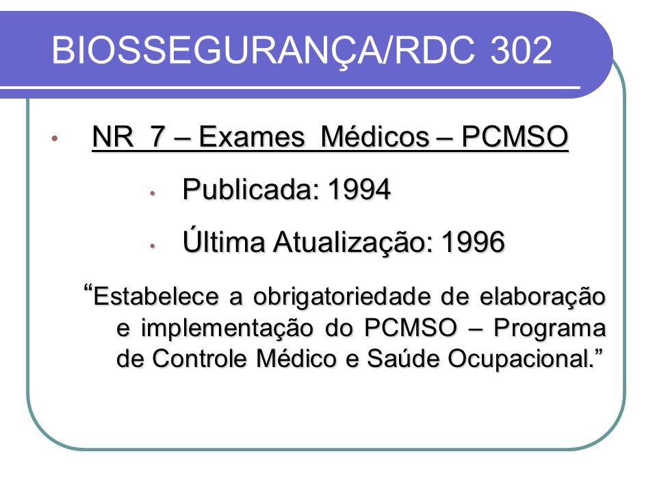 BIOSSEGURANÇA/RDC 302 NR 7 – Exames Médicos – PCMSO Publicada: 1994 Publicada: 1994 Última Atualização: 1996 Última Atualização: 1996 Estabelece a obrigatoriedade de elaboração e implementação do PCMSO – Programa de Controle Médico e Saúde Ocupacional.