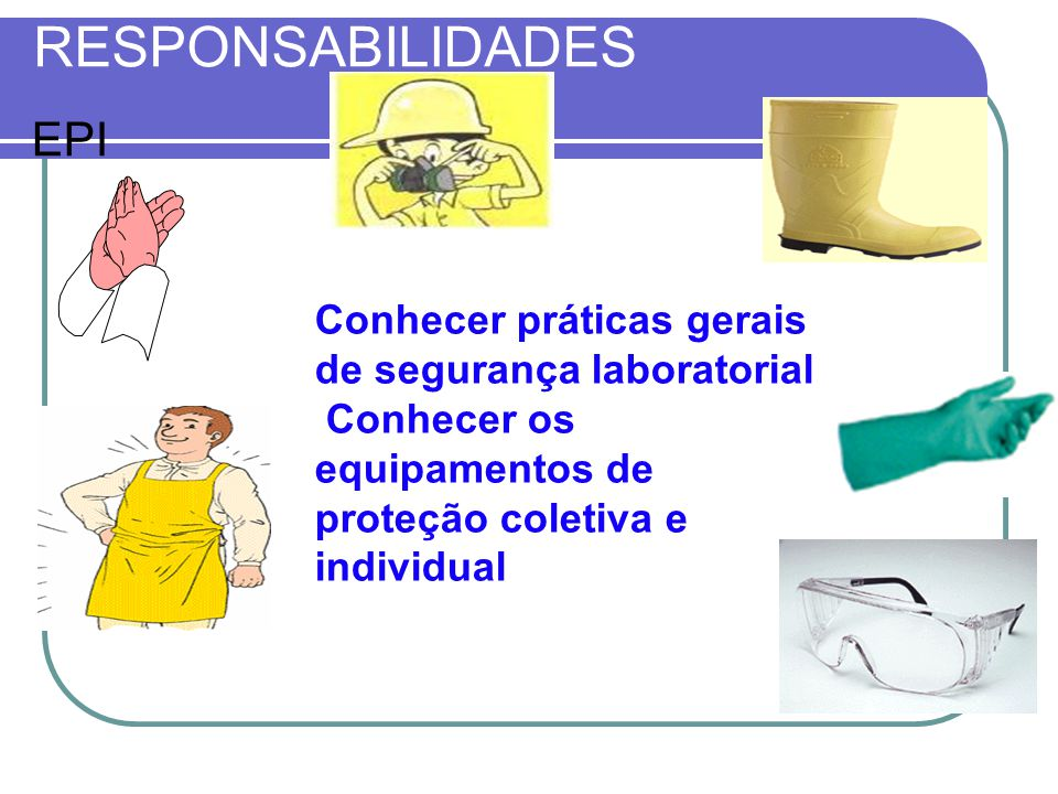 RESPONSABILIDADES EPI Conhecer práticas gerais de segurança laboratorial Conhecer os equipamentos de proteção coletiva e individual