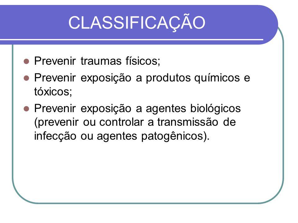 CLASSIFICAÇÃO Prevenir traumas físicos; Prevenir exposição a produtos químicos e tóxicos; Prevenir exposição a agentes biológicos (prevenir ou controlar a transmissão de infecção ou agentes patogênicos).