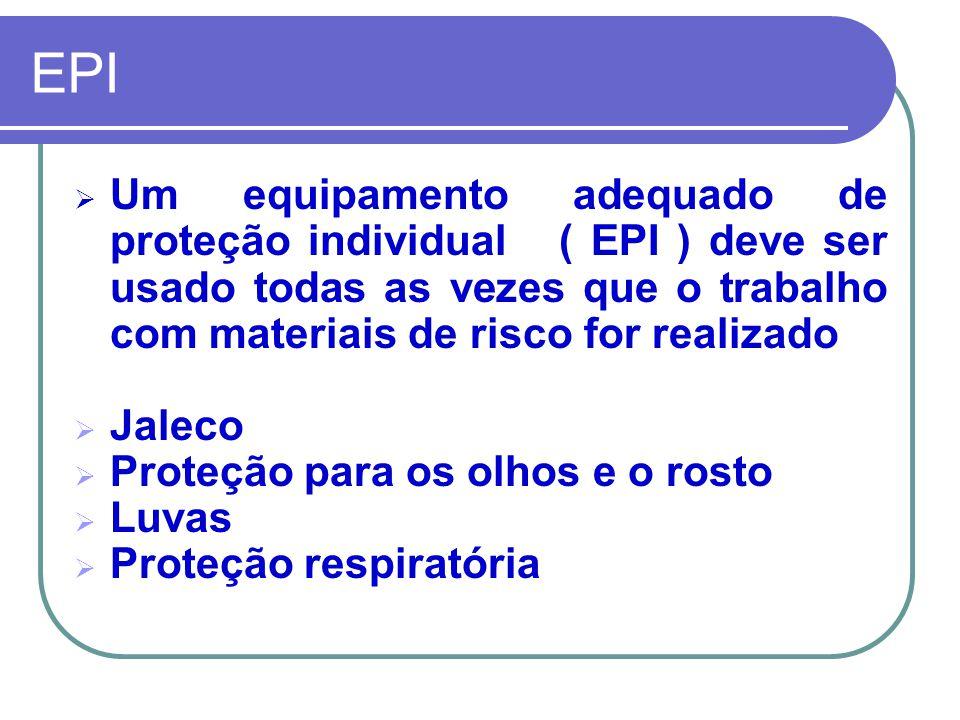 EPI  Um equipamento adequado de proteção individual ( EPI ) deve ser usado todas as vezes que o trabalho com materiais de risco for realizado  Jaleco  Proteção para os olhos e o rosto  Luvas  Proteção respiratória