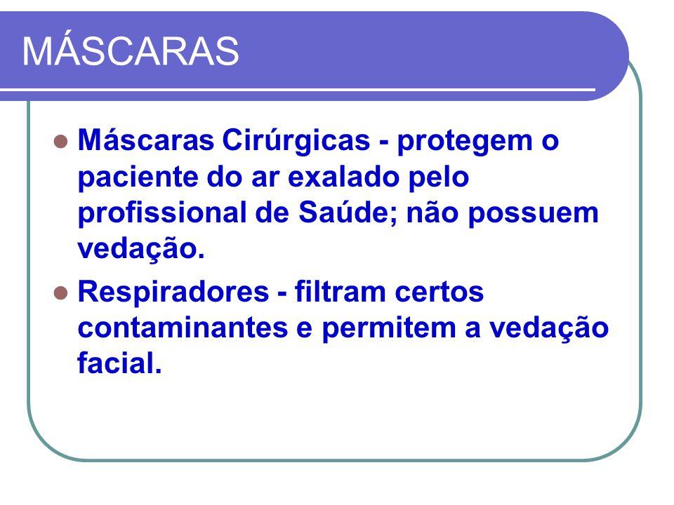 MÁSCARAS Máscaras Cirúrgicas - protegem o paciente do ar exalado pelo profissional de Saúde; não possuem vedação.