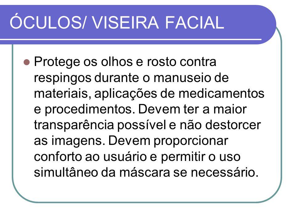 ÓCULOS/ VISEIRA FACIAL Protege os olhos e rosto contra respingos durante o manuseio de materiais, aplicações de medicamentos e procedimentos.