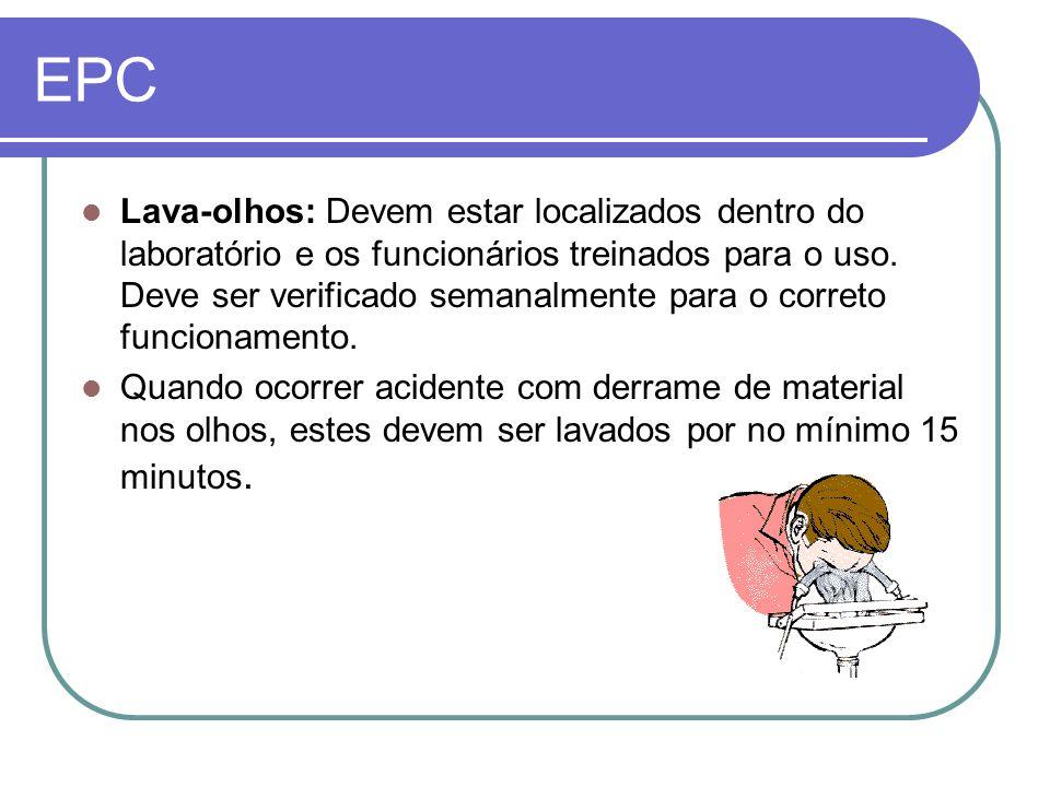 EPC Lava-olhos: Devem estar localizados dentro do laboratório e os funcionários treinados para o uso.