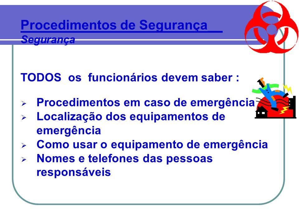 TODOS os funcionários devem saber :  Procedimentos em caso de emergência  Localização dos equipamentos de emergência  Como usar o equipamento de emergência  Nomes e telefones das pessoas responsáveis Procedimentos de Segurança__ Segurança