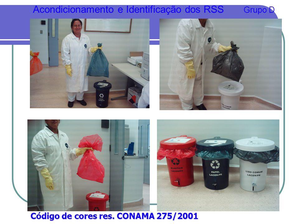Código de cores res. CONAMA 275/2001 Acondicionamento e Identificação dos RSS Grupo D