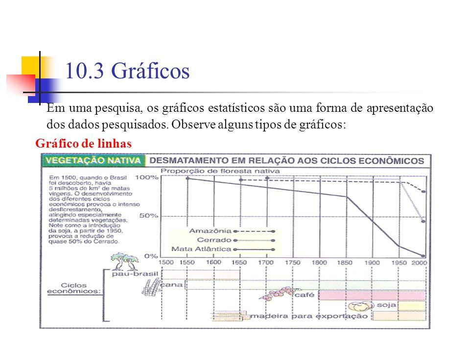 10.3 Gráficos Em uma pesquisa, os gráficos estatísticos são uma forma de apresentação dos dados pesquisados.