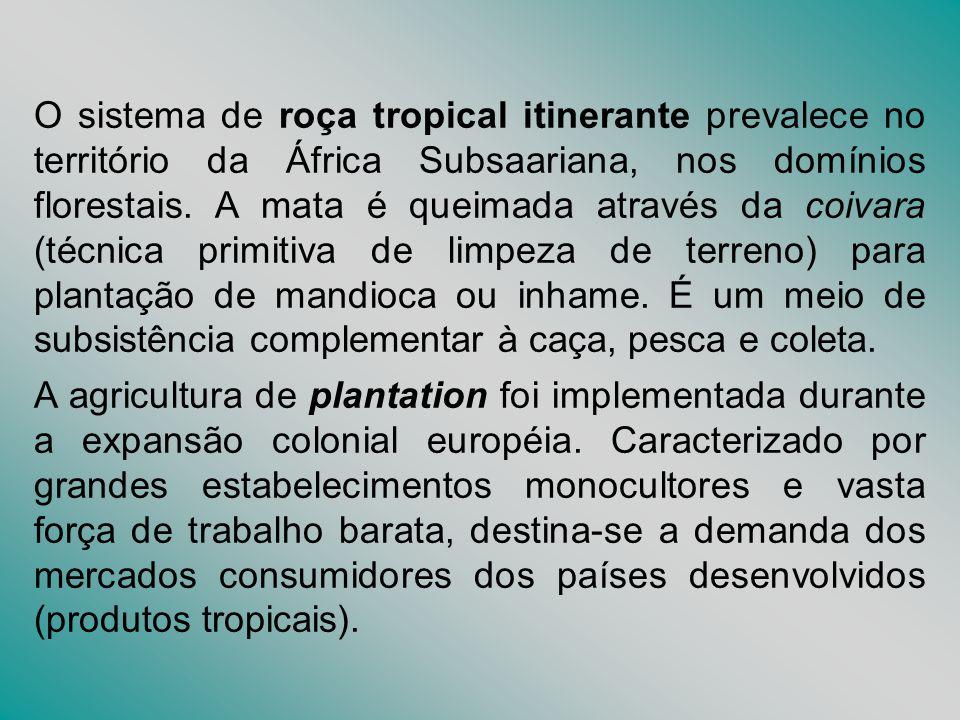 O sistema de roça tropical itinerante prevalece no território da África Subsaariana, nos domínios florestais. A mata é queimada através da coivara (té