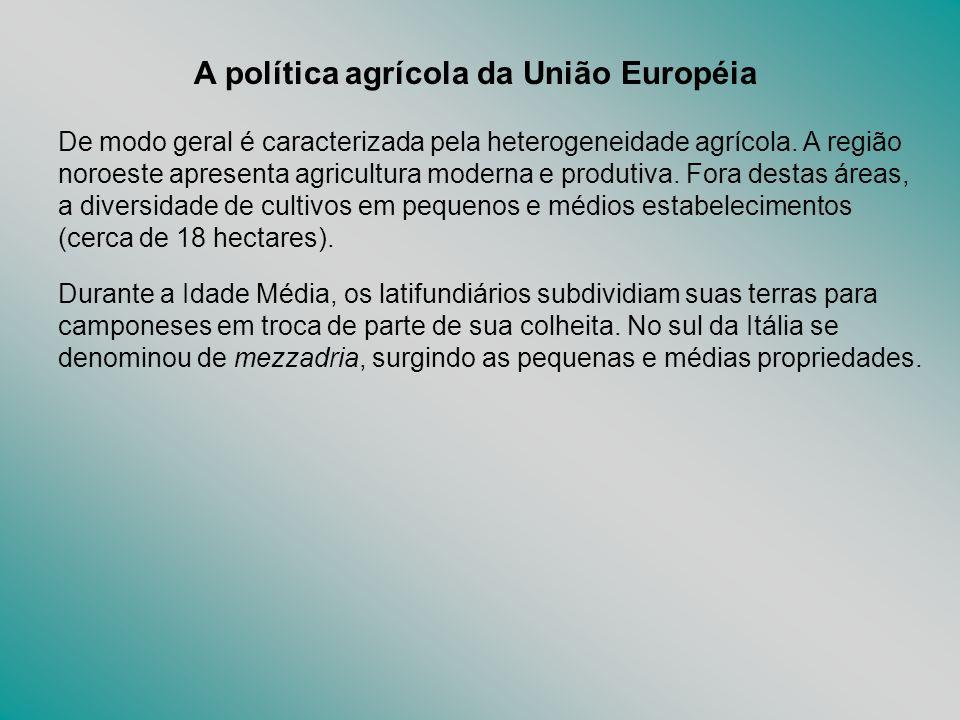 A política agrícola da União Européia De modo geral é caracterizada pela heterogeneidade agrícola. A região noroeste apresenta agricultura moderna e p