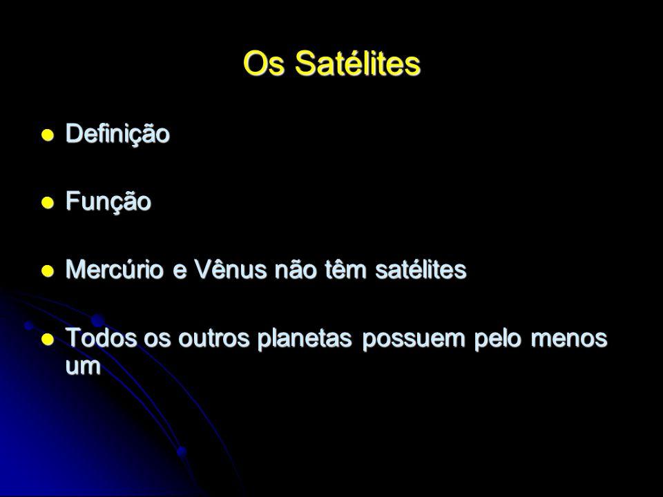 Os Satélites Definição Definição Função Função Mercúrio e Vênus não têm satélites Mercúrio e Vênus não têm satélites Todos os outros planetas possuem