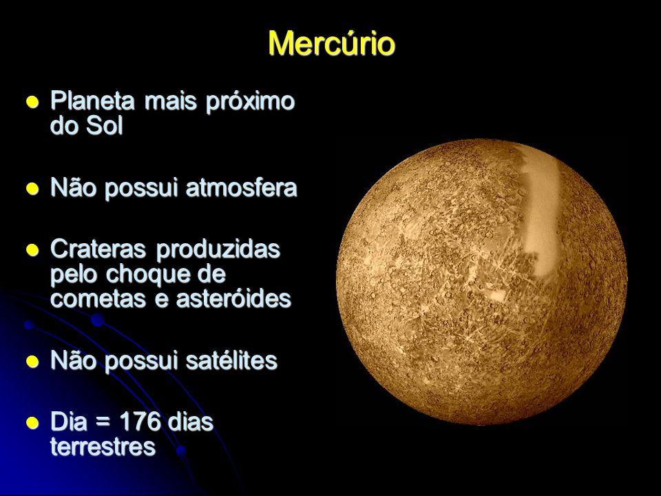 Mercúrio Planeta mais próximo do Sol Planeta mais próximo do Sol Não possui atmosfera Não possui atmosfera Crateras produzidas pelo choque de cometas