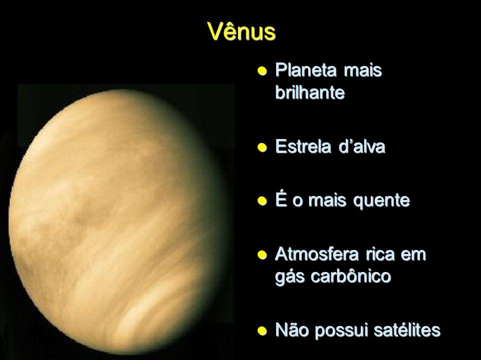 Vênus Planeta mais brilhante Planeta mais brilhante Estrela d'alva Estrela d'alva É o mais quente É o mais quente Atmosfera rica em gás carbônico Atmo