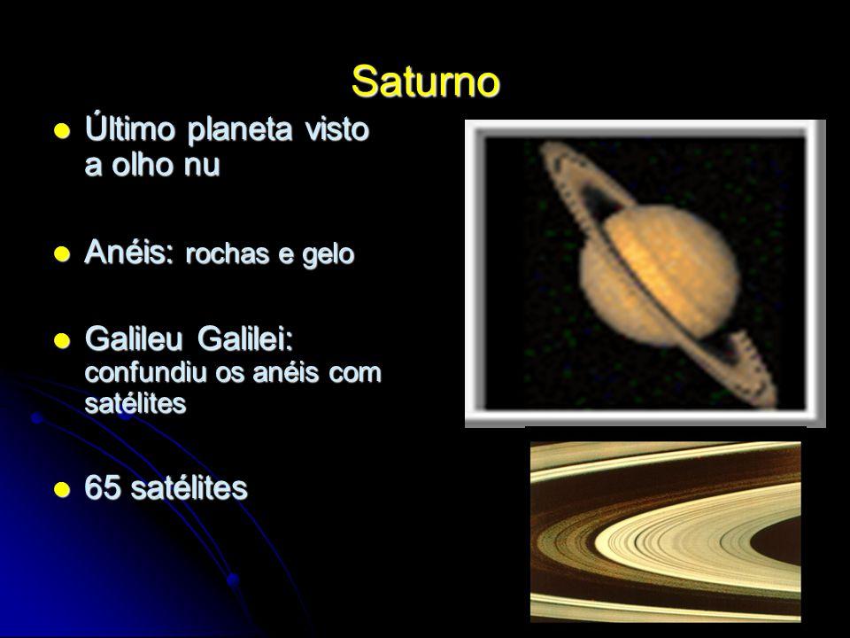Saturno Último planeta visto a olho nu Último planeta visto a olho nu Anéis: rochas e gelo Anéis: rochas e gelo Galileu Galilei: confundiu os anéis co