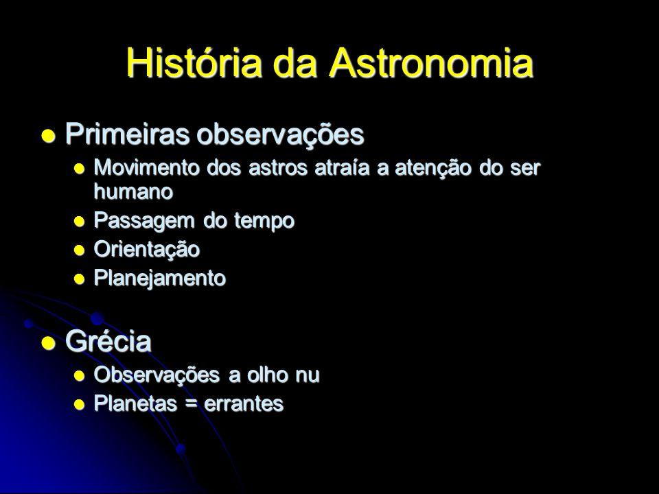 História da Astronomia Primeiras observações Primeiras observações Movimento dos astros atraía a atenção do ser humano Movimento dos astros atraía a a
