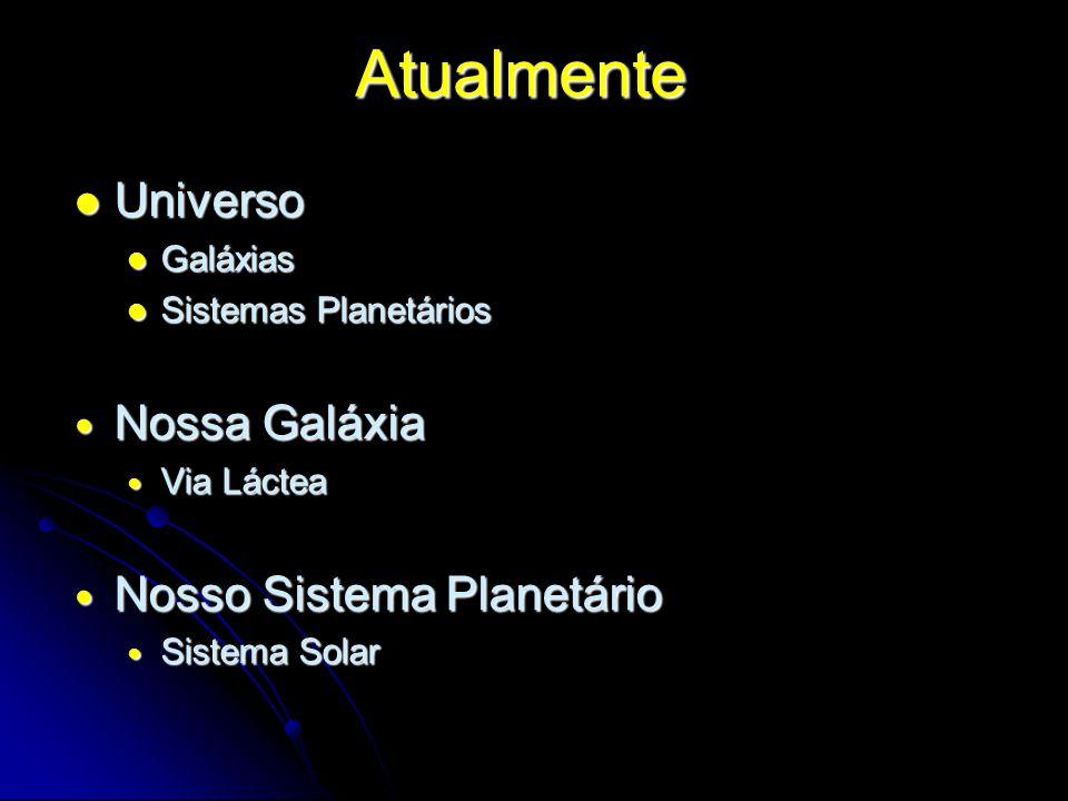 Atualmente Universo Universo Galáxias Galáxias Sistemas Planetários Sistemas Planetários Nossa Galáxia Nossa Galáxia Via Láctea Via Láctea Nosso Siste