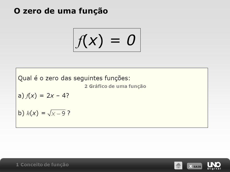 X SAIR O zero de uma função Qual é o zero das seguintes funções: a) f (x) = 2x – 4? b) h (x) = ? 1 Conceito de função f (x) = 0 2 Gráfico de uma funçã
