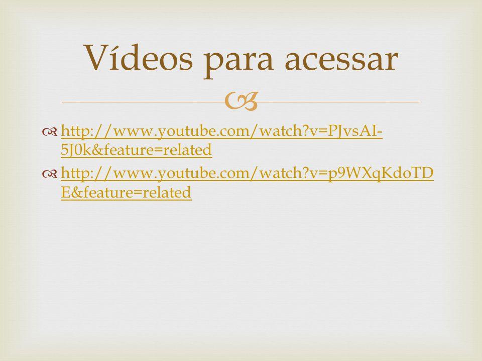   http://www.youtube.com/watch?v=PJvsAI- 5J0k&feature=related http://www.youtube.com/watch?v=PJvsAI- 5J0k&feature=related  http://www.youtube.com/watch?v=p9WXqKdoTD E&feature=related http://www.youtube.com/watch?v=p9WXqKdoTD E&feature=related Vídeos para acessar