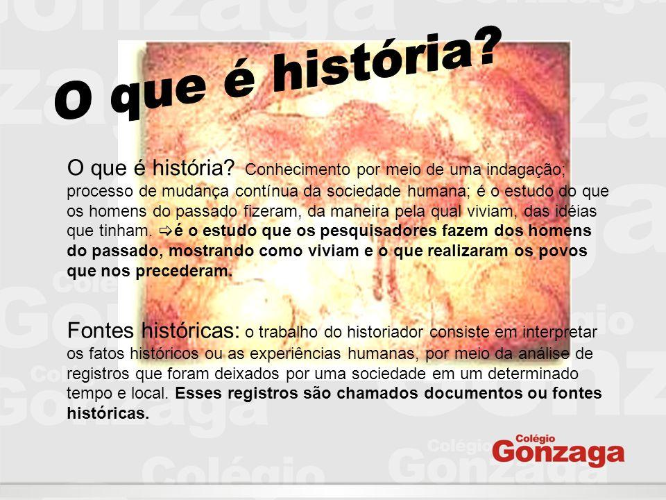 O que é história? Conhecimento por meio de uma indagação; processo de mudança contínua da sociedade humana; é o estudo do que os homens do passado fiz