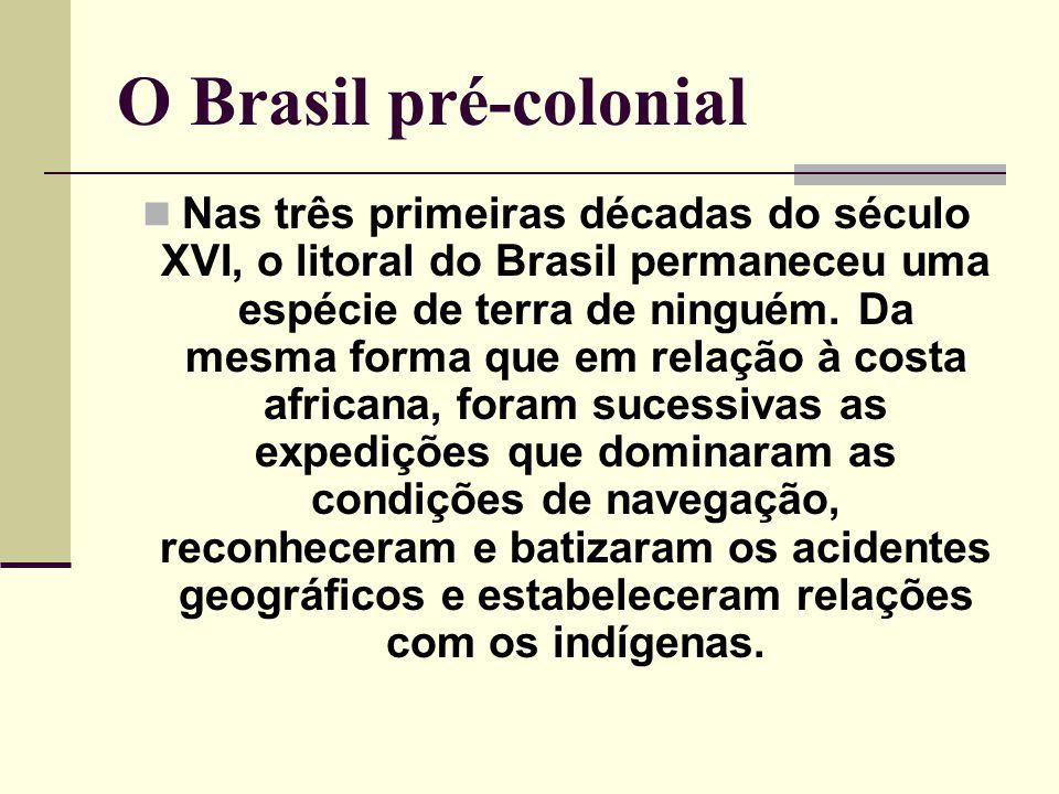 O Brasil pré-colonial Nas três primeiras décadas do século XVI, o litoral do Brasil permaneceu uma espécie de terra de ninguém. Da mesma forma que em