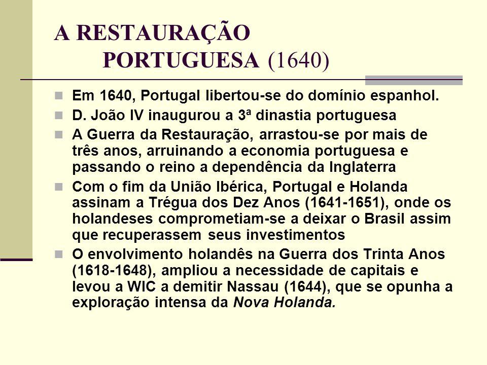 A RESTAURAÇÃO PORTUGUESA (1640) Em 1640, Portugal libertou-se do domínio espanhol. D. João IV inaugurou a 3ª dinastia portuguesa A Guerra da Restauraç