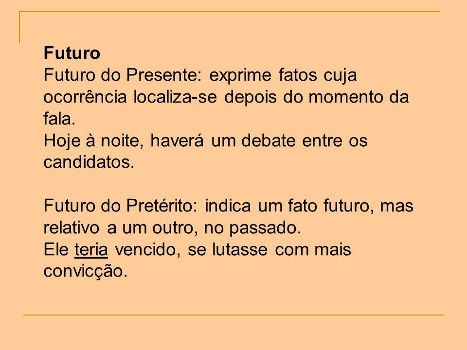 Futuro Futuro do Presente: exprime fatos cuja ocorrência localiza-se depois do momento da fala. Hoje à noite, haverá um debate entre os candidatos. Fu