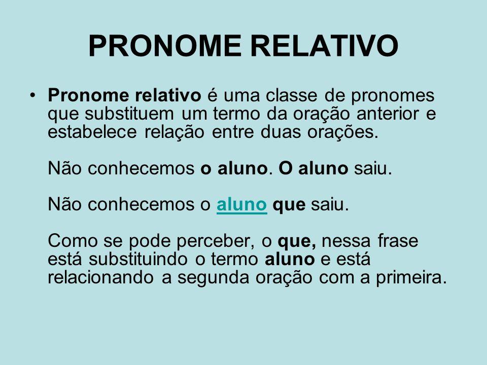PRONOME RELATIVO Pronome relativo é uma classe de pronomes que substituem um termo da oração anterior e estabelece relação entre duas orações.