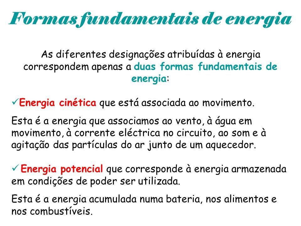 Formas fundamentais de energia As diferentes designações atribuídas à energia correspondem apenas a duas formas fundamentais de energia: Energia cinét