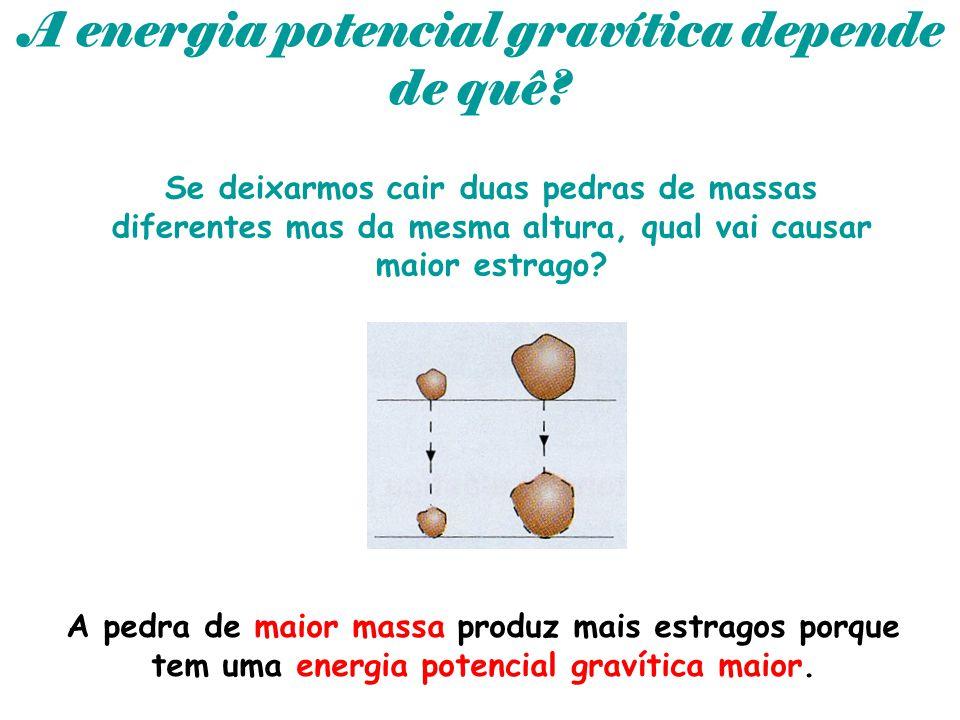 A energia potencial gravítica depende de quê? Se deixarmos cair duas pedras de massas diferentes mas da mesma altura, qual vai causar maior estrago? A