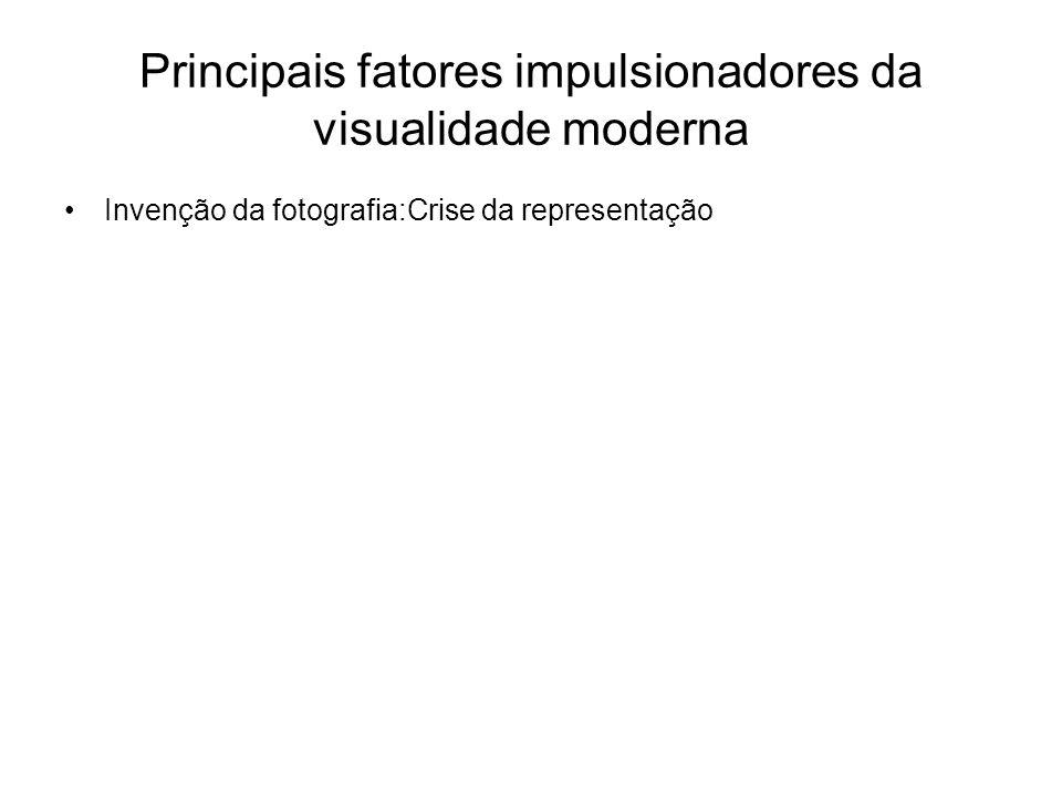 Principais fatores impulsionadores da visualidade moderna Invenção da fotografia:Crise da representação