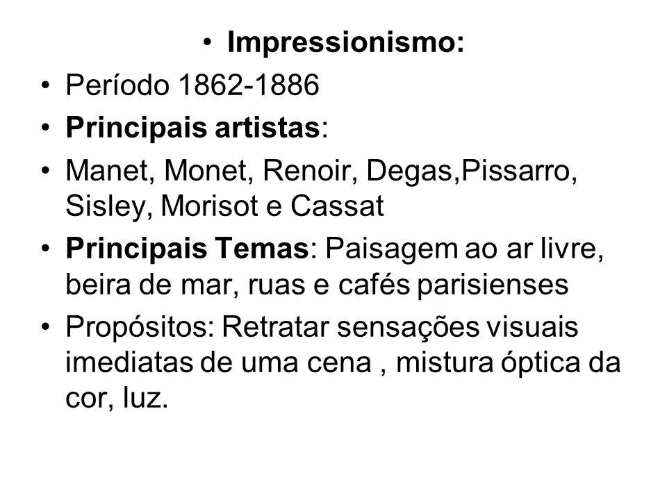 Impressionismo: Período 1862-1886 Principais artistas: Manet, Monet, Renoir, Degas,Pissarro, Sisley, Morisot e Cassat Principais Temas: Paisagem ao ar