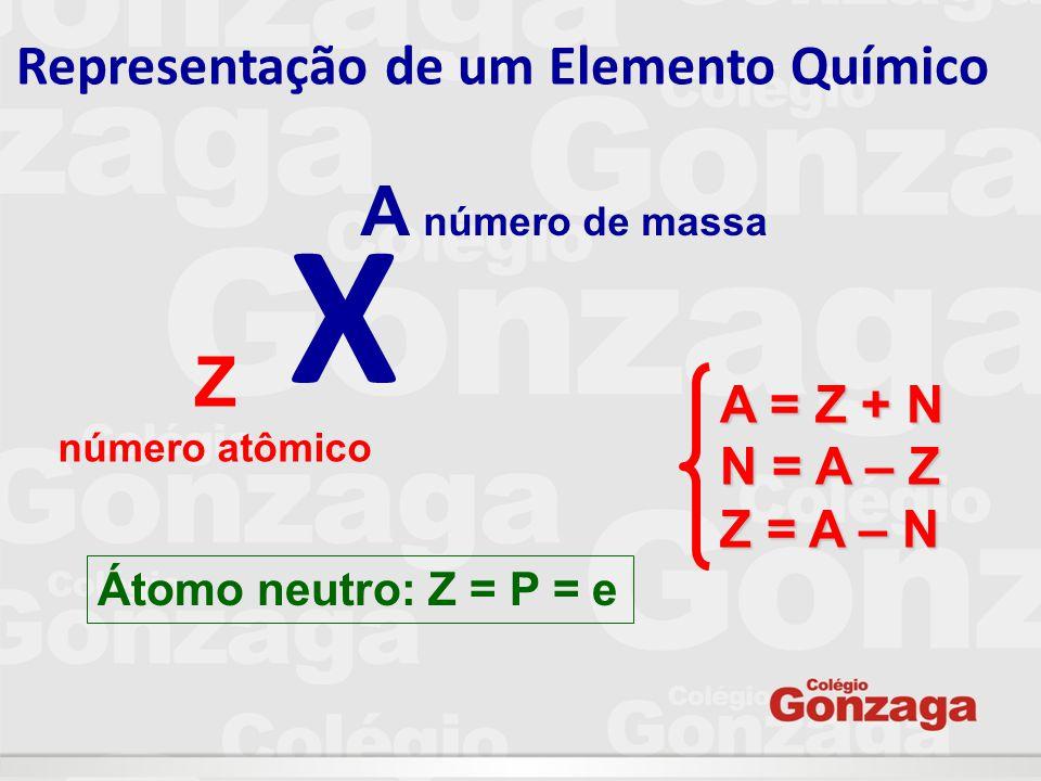 Exemplo: átomo neutro: Ca 20 40 Z = P = E = N = A = 2020202040 íon: Ca 2+ 20 40 Z = P = E = N = A = 2020182040