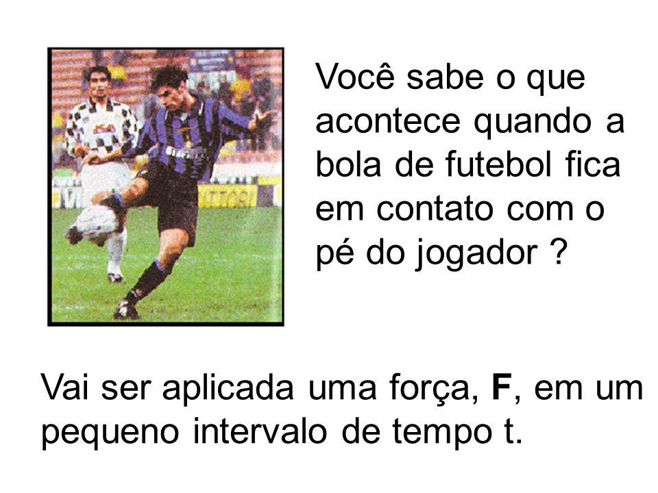 Você sabe o que acontece quando a bola de futebol fica em contato com o pé do jogador ? Vai ser aplicada uma força, F, em um pequeno intervalo de temp