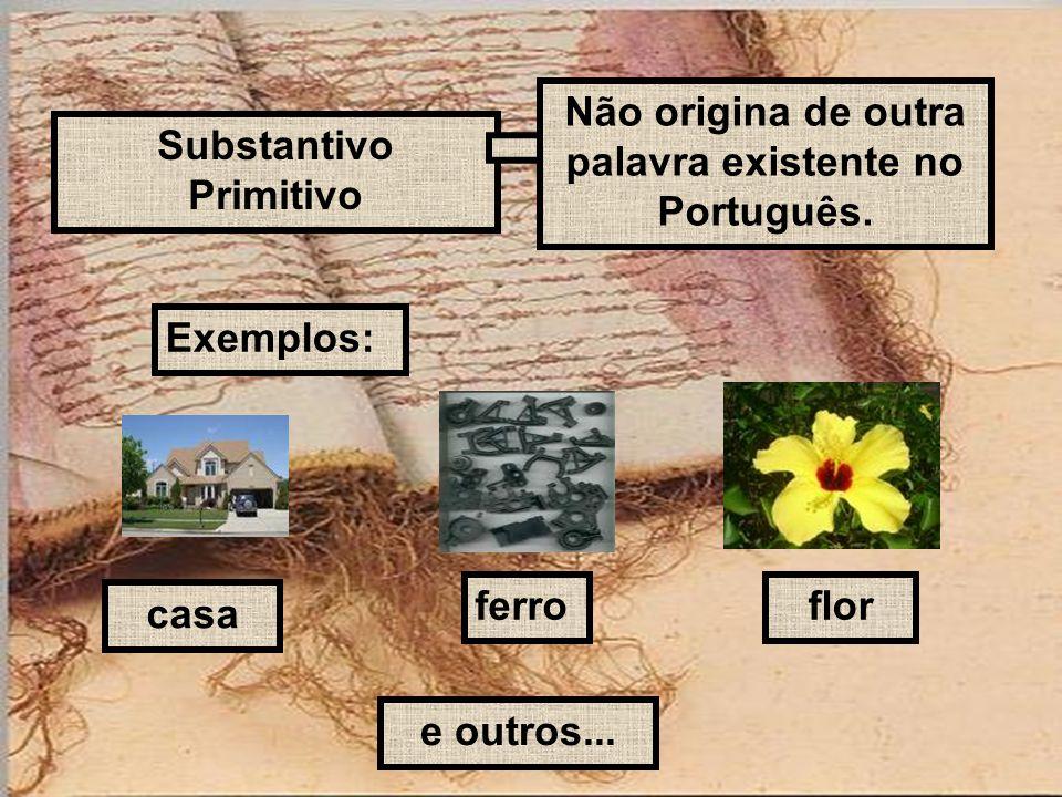 Substantivo Primitivo Não origina de outra palavra existente no Português. Exemplos: casa ferroflor e outros...