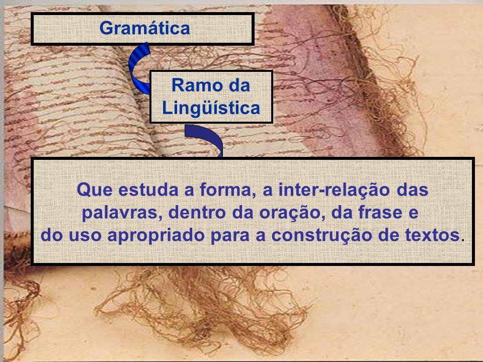 Gramática Ramo da Lingüística Que estuda a forma, a inter-relação das palavras, dentro da oração, da frase e do uso apropriado para a construção de textos.