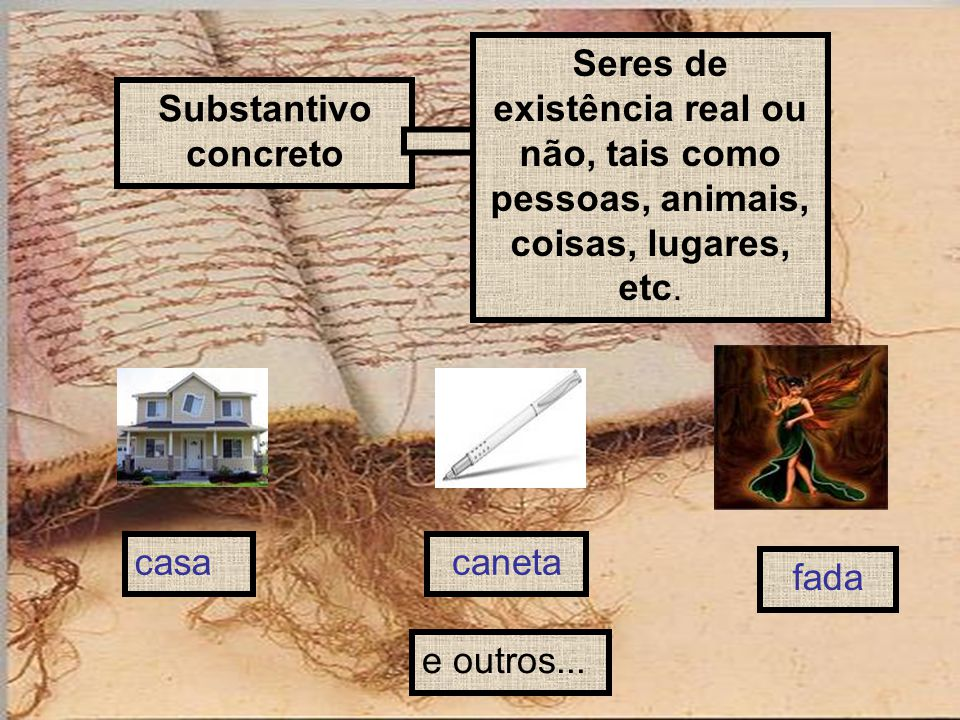 Substantivo concreto Seres de existência real ou não, tais como pessoas, animais, coisas, lugares, etc. casacaneta fada e outros...