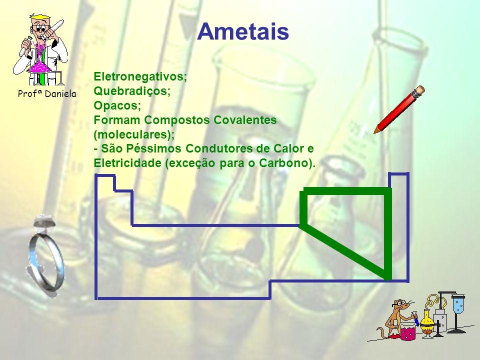 Ametais Profª Daniela Eletronegativos; Quebradiços; Opacos; Formam Compostos Covalentes (moleculares); - São Péssimos Condutores de Calor e Eletricidade (exceção para o Carbono).