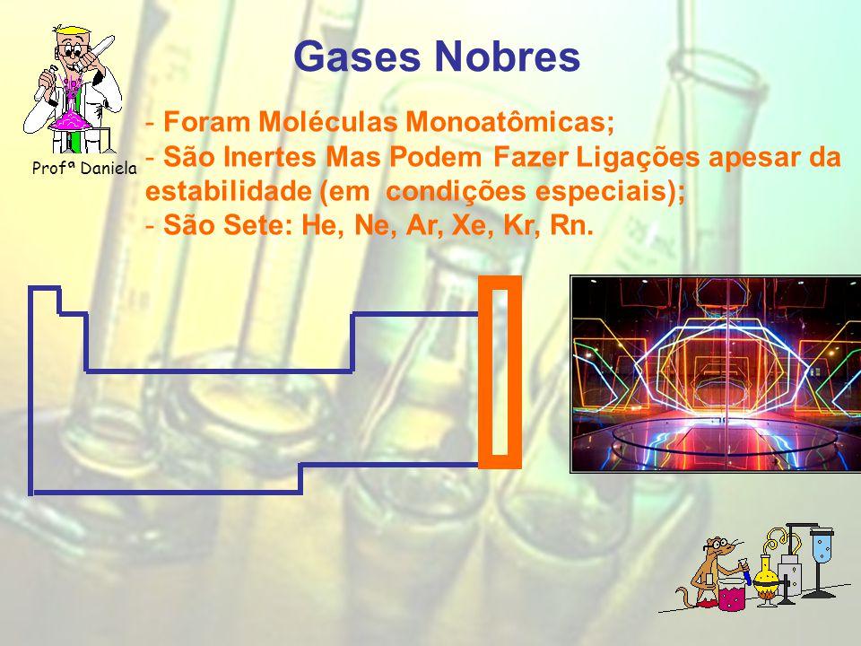 Gases Nobres Profª Daniela - Foram Moléculas Monoatômicas; - São Inertes Mas Podem Fazer Ligações apesar da estabilidade (em condições especiais); - São Sete: He, Ne, Ar, Xe, Kr, Rn.