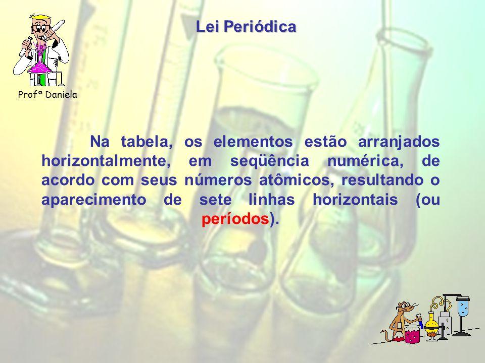 Lei Periódica Profª Daniela Na tabela, os elementos estão arranjados horizontalmente, em seqüência numérica, de acordo com seus números atômicos, resultando o aparecimento de sete linhas horizontais (ou períodos).