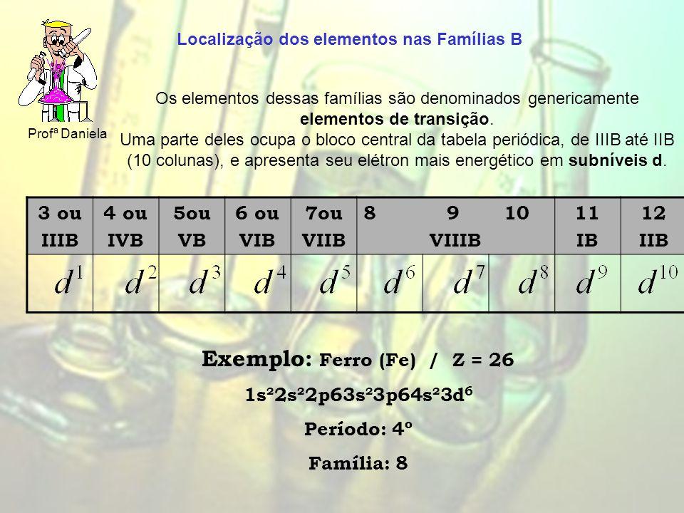 Profª Daniela 3 ou IIIB 4 ou IVB 5ou VB 6 ou VIB 7ou VIIB 8 9 10 VIIIB 11 IB 12 IIB Exemplo: Ferro (Fe) / Z = 26 1s²2s²2p63s²3p64s²3d 6 Período: 4º Família: 8 Os elementos dessas famílias são denominados genericamente elementos de transição.
