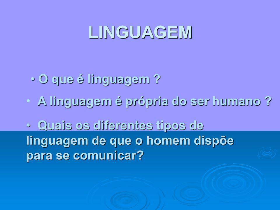 OBJETIVOS Diferenciar linguagem, língua e código. Diferenciar linguagem, língua e código. Conceituar linguagem verbal e não- verbal. Conceituar lingua