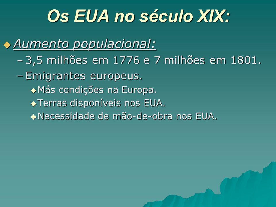 Os EUA no século XIX:  Aumento populacional: –3,5 milhões em 1776 e 7 milhões em 1801. –Emigrantes europeus.  Más condições na Europa.  Terras disp