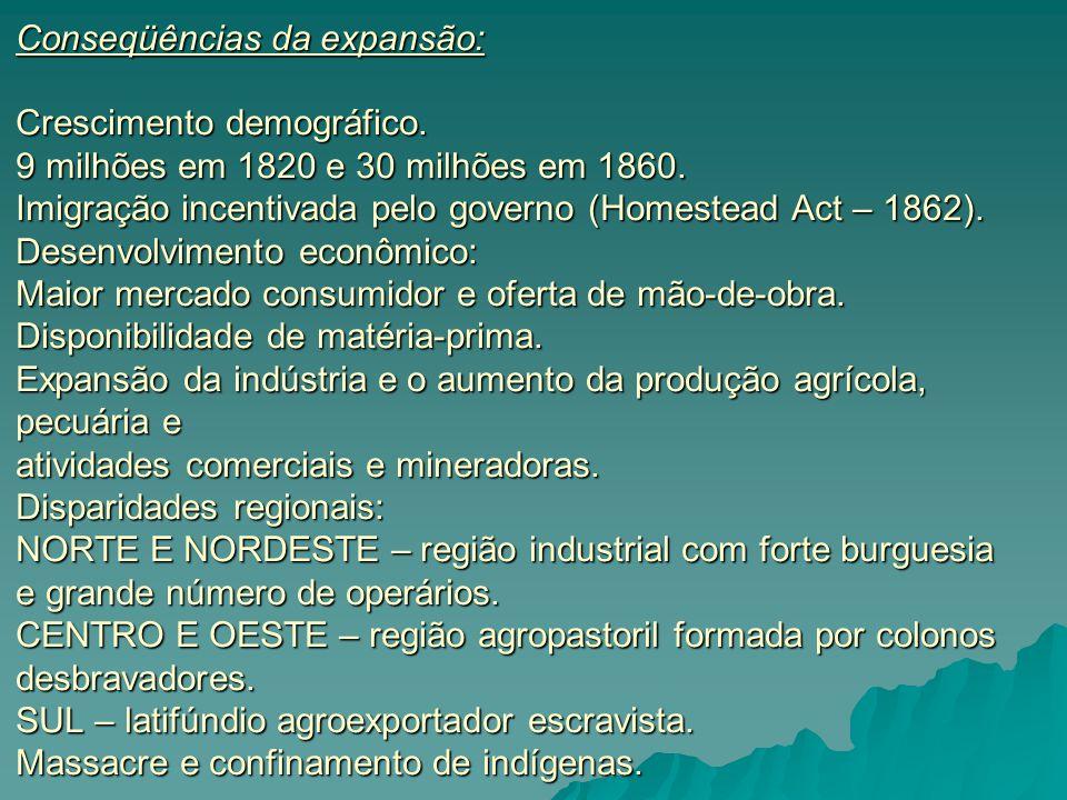  Conseqüências da expansão: Crescimento demográfico. 9 milhões em 1820 e 30 milhões em 1860. Imigração incentivada pelo governo (Homestead Act – 1862