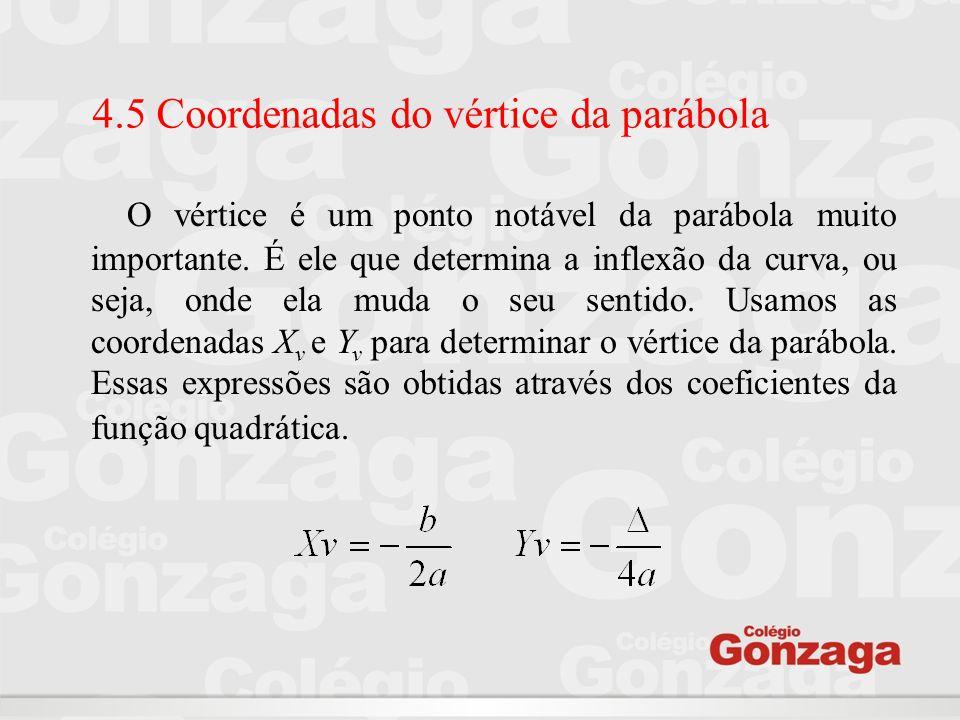 4.5 Coordenadas do vértice da parábola O vértice é um ponto notável da parábola muito importante. É ele que determina a inflexão da curva, ou seja, on